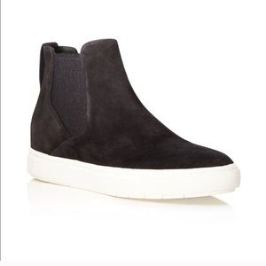 VINCE black suede high top sneakers